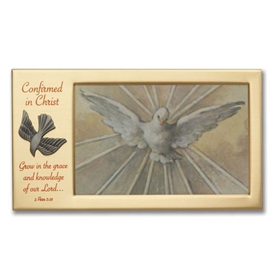 Confirmation Photo Frame with Pewter Dove   - Brass