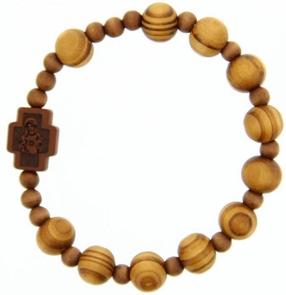 Jujube Light Wood Rosary Bracelet - 10mm - Brown