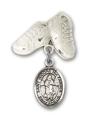 Pin Badge with St. Isidore the Farmer Charm and Baby Boots Pin - Silver tone
