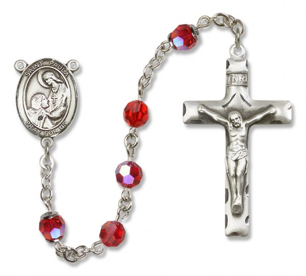 St. Paula Sterling Silver Heirloom Rosary Squared Crucifix - Ruby Red