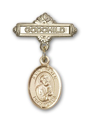 Pin Badge with St. Peter the Apostle Charm and Godchild Badge Pin - Gold Tone