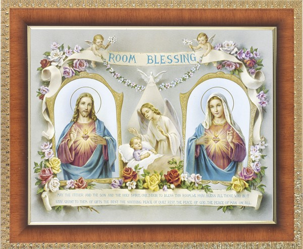 Room Blessing Framed Print with Sacred Heart and Immaculate Heart - #122 Frame