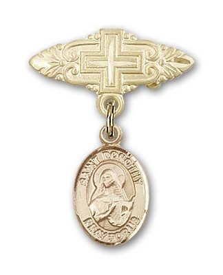Pin Badge with St. Dorothy Charm and Badge Pin with Cross - 14K Yellow Gold