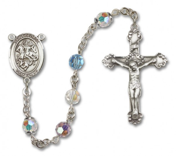 St. George Sterling Silver Heirloom Rosary Fancy Crucifix - Multi-Color
