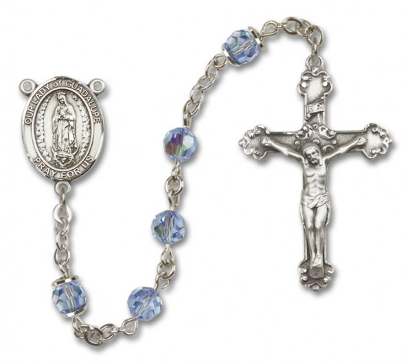 Our Lady of Guadalupe Sterling Silver Heirloom Rosary Fancy Crucifix - Light Sapphire
