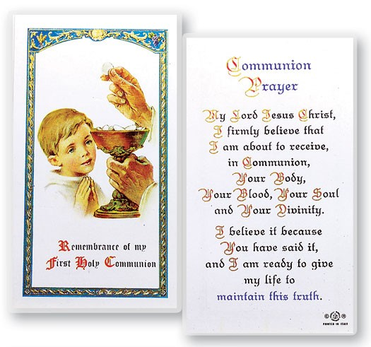 Communion Boy Laminated Prayer Cards 25 Pack - Full Color