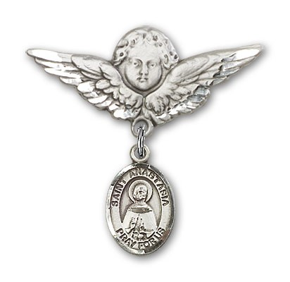 Pin Badge with St. Anastasia Charm and Angel with Larger Wings Badge Pin - Silver tone