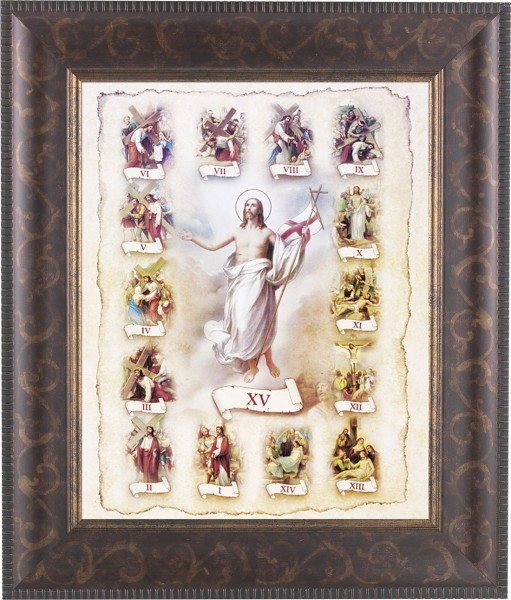 Stations of the Cross Illustrated Framed Print - #124 Frame