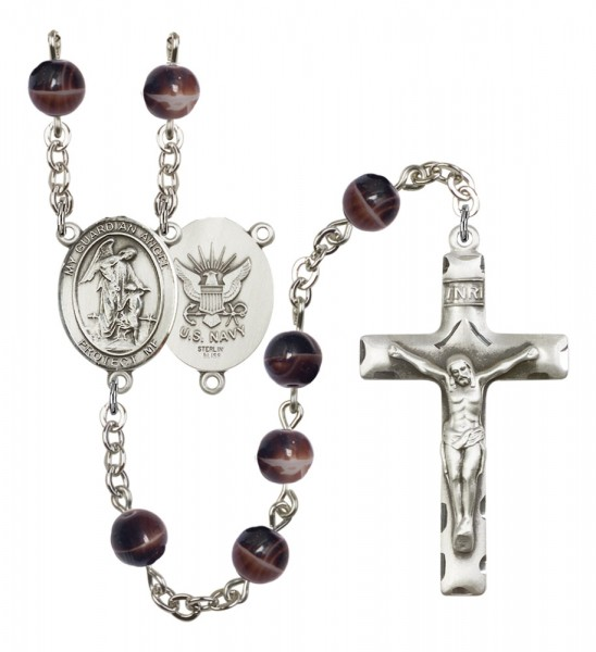 Men's Guardian Angel Navy Silver Plated Rosary - Brown