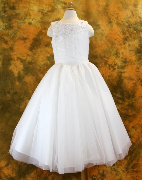 First Communion Dress with Rhinestone Embellishments and Ruched Tulle Overlay - White