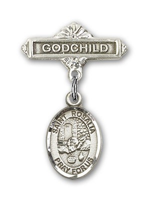 Pin Badge with St. Rosalia Charm and Godchild Badge Pin - Silver tone