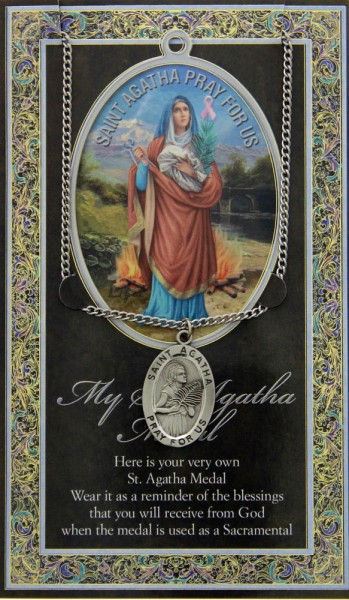 St. Agatha Medal in Pewter with Bi-Fold Prayer Card - Silver tone