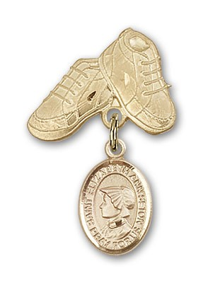 Pin Badge with St. Elizabeth Ann Seton Charm and Baby Boots Pin - 14K Yellow Gold