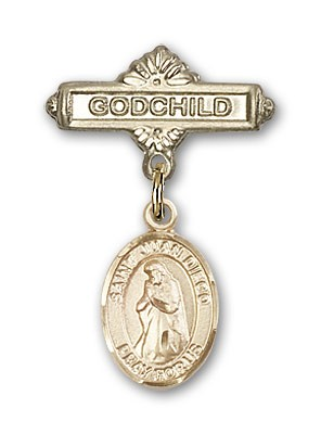 Pin Badge with St. Juan Diego Charm and Godchild Badge Pin - 14K Yellow Gold