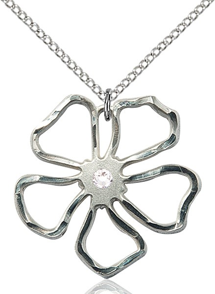 Five Petal Flower Pendant with Birthstone Center - Crystal
