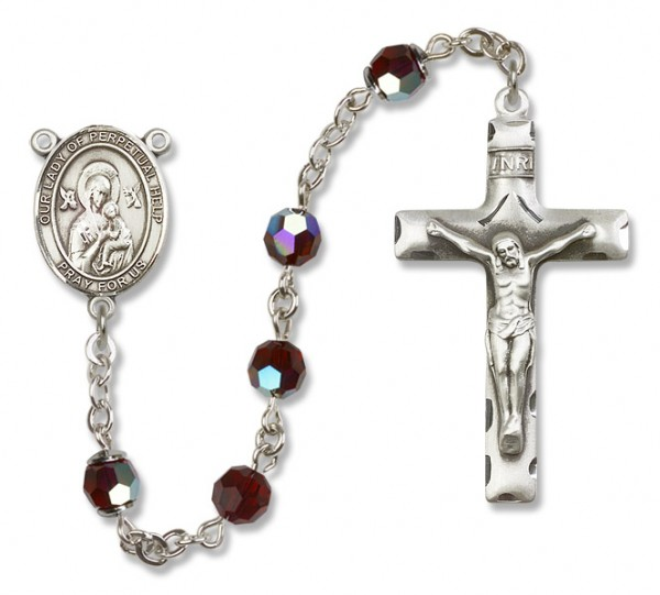 Our Lady of Perpetual Help Sterling Silver Heirloom Rosary Squared Crucifix - Garnet
