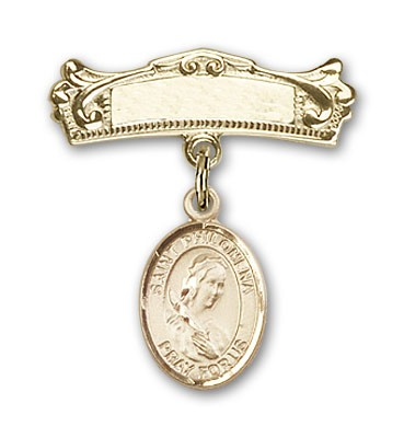 Pin Badge with St. Philomena Charm and Arched Polished Engravable Badge Pin - 14K Solid Gold