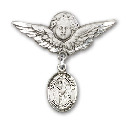 Pin Badge with St. Margaret Mary Alacoque Charm and Angel with Larger Wings Badge Pin - Silver tone