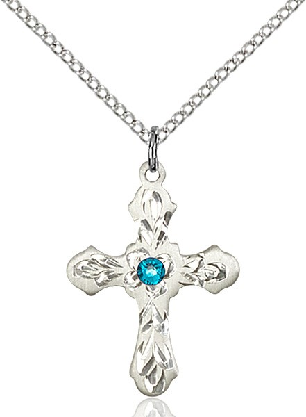 Medium Floral and Petal Cross Pendant with Birthstone Options - Zircon