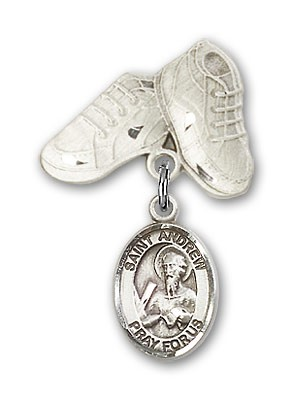 Pin Badge with St. Andrew the Apostle Charm and Baby Boots Pin - Silver tone