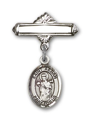 Pin Badge with St. Aedan of Ferns Charm and Polished Engravable Badge Pin - Silver tone