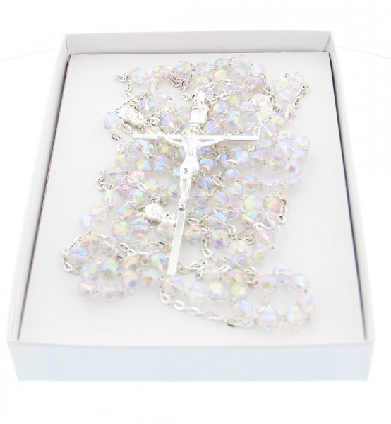 Silver Tone and Crystal Wedding Lasso Rosary - Without Deluxe Box
