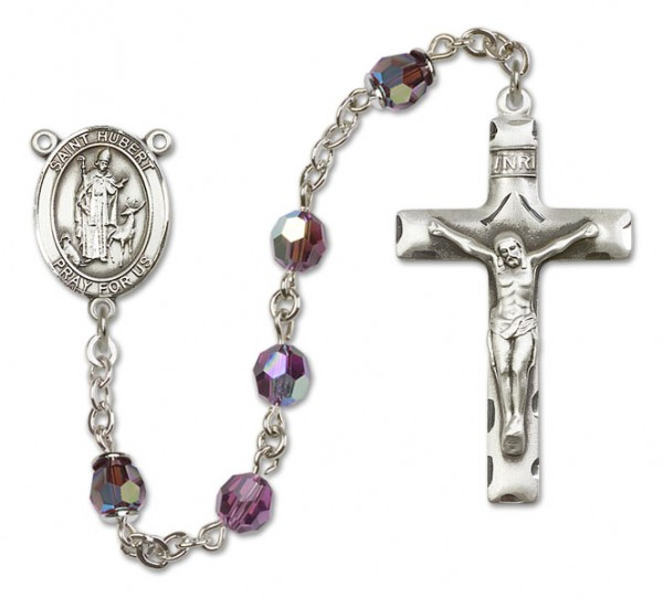 St. Hubert of Liege Sterling Silver Heirloom Rosary Squared Crucifix - Amethyst
