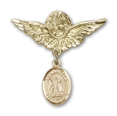 Pin Badge with St. Bridget of Sweden Charm and Angel with Larger Wings Badge Pin - 14K Yellow Gold