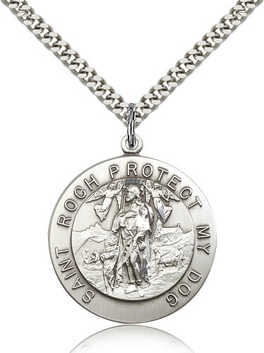 Men's Round St. Roch Medal - Sterling Silver