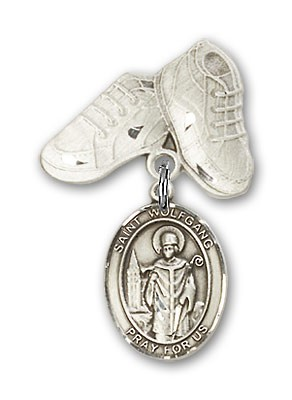 Pin Badge with St. Wolfgang Charm and Baby Boots Pin - Silver tone