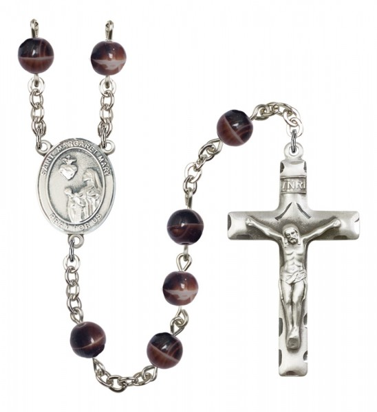 Men's St. Margaret Mary Alacoque Silver Plated Rosary - Brown