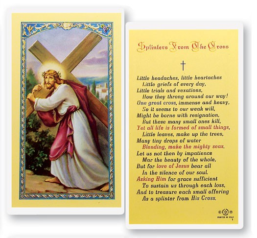 Splinters From The Cross Laminated Prayer Cards 25 Pack - Full Color