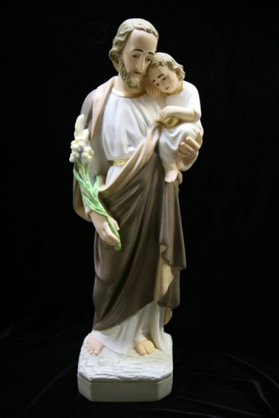 Saint Joseph with Child Statue Hand Painted Marble Composite - 24 inch - Multi-Color
