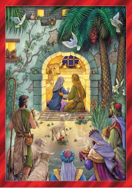 Advent Calendar Greeting Card Peaceful Nativity   - Multi-Color