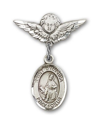 Pin Badge with St. Dymphna Charm and Angel with Smaller Wings Badge Pin - Silver tone