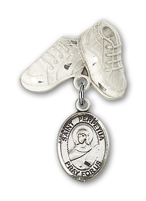 Pin Badge with St. Perpetua Charm and Baby Boots Pin - Silver tone
