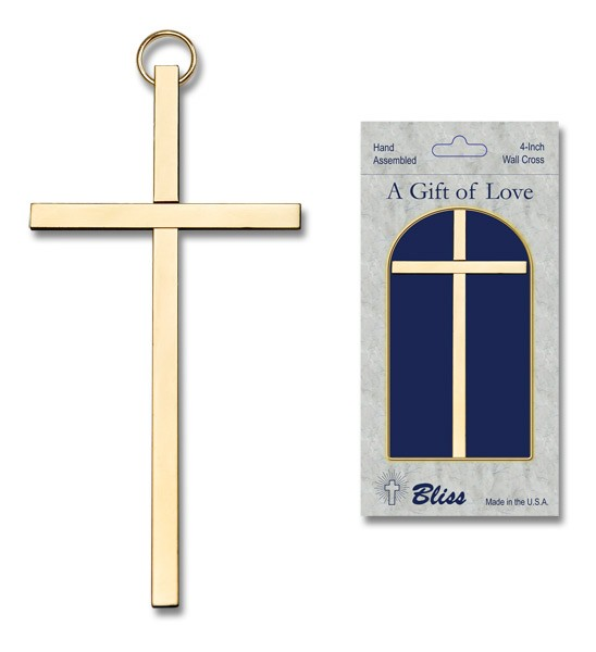 "Plain Wall Cross 4"", two color combinations - Gold Tone"