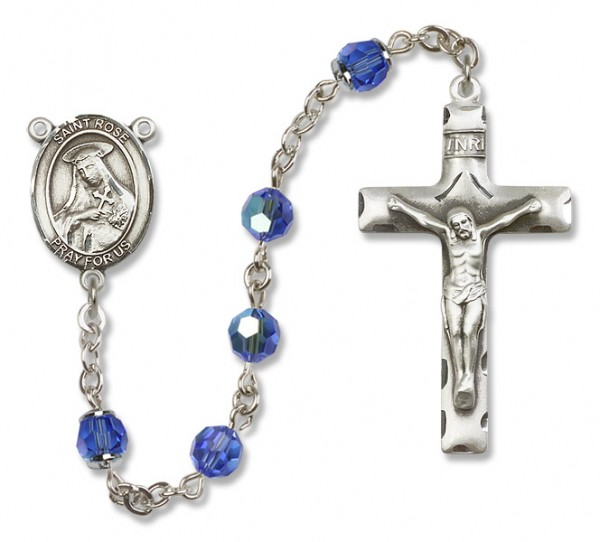 St. Rose of Lima Sterling Silver Heirloom Rosary Squared Crucifix - Sapphire