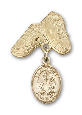 Pin Badge with St. Andrew the Apostle Charm and Baby Boots Pin - 14K Solid Gold