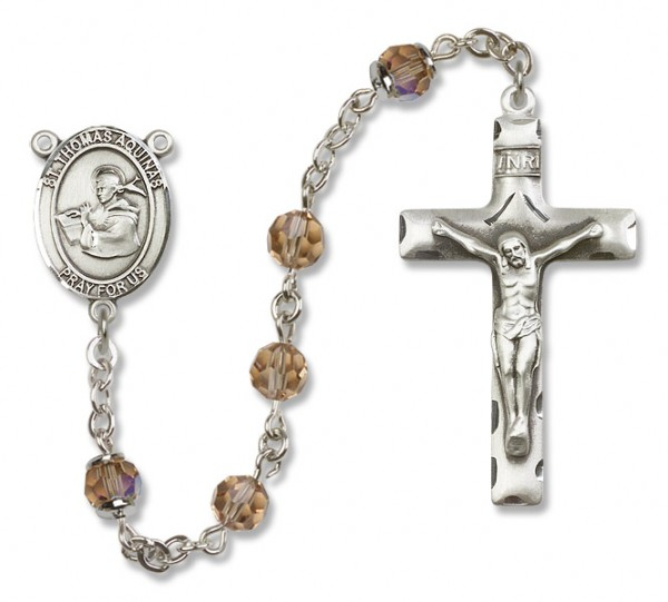 St. Thomas Aquinas Sterling Silver Heirloom Rosary Squared Crucifix - Topaz