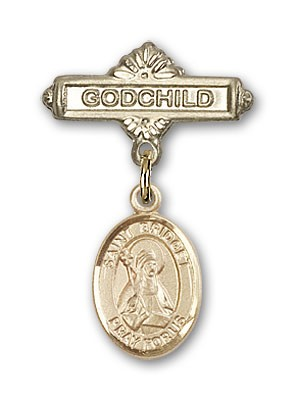 Pin Badge with St. Bridget of Sweden Charm and Godchild Badge Pin - Gold Tone