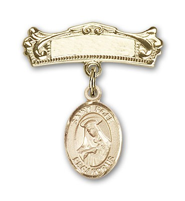 Pin Badge with St. Rose of Lima Charm and Arched Polished Engravable Badge Pin - Gold Tone