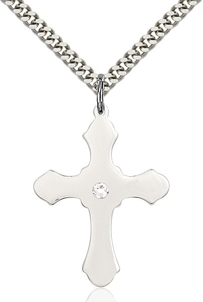Large High Polished Soft Edge Cross Pendant with Birthstone Options - Crystal
