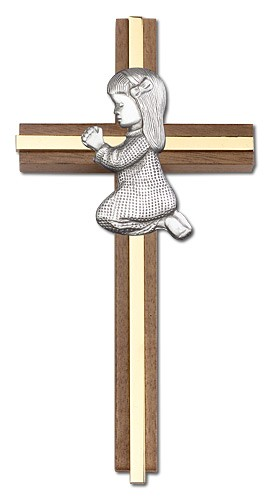 "Praying Girl Cross in Walnut 6"" with Metal Inlay - Two-Tone Gold"