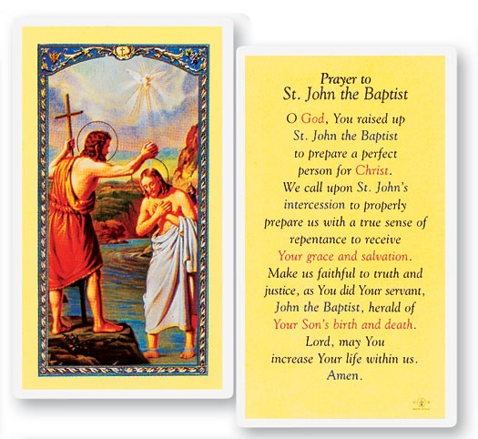 Bible Quotes About St John The Baptist: Prayer To St. John The Baptist Laminated Prayer Cards 25 Pack