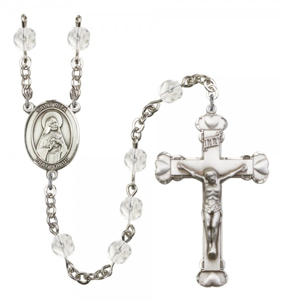 Women's St. Rita of Cascia Birthstone Rosary - Crystal