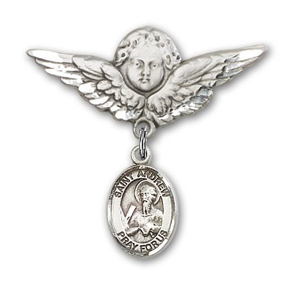 Pin Badge with St. Andrew the Apostle Charm and Angel with Larger Wings Badge Pin - Silver tone