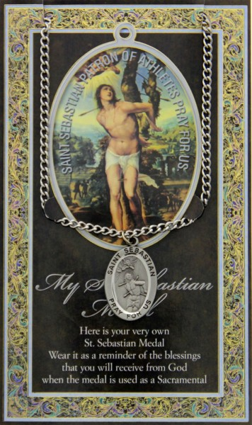 St. Sebastian Medal in Pewter with Bi-Fold Prayer Card - Silver tone