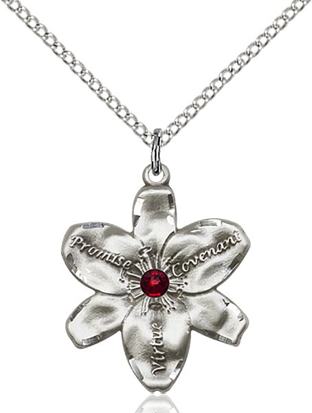 Large Five Petal Chastity Pendant with Birthstone Center - Garnet