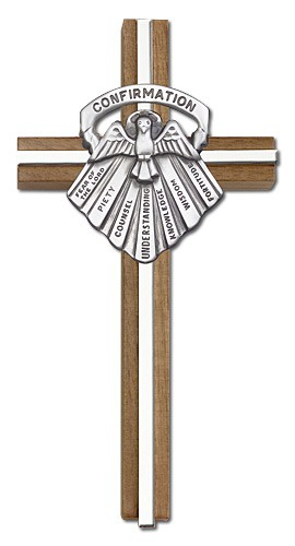 "Gifts of Confirmation Wall Cross in Walnut and Metal Inlay 6"" - Silver tone"